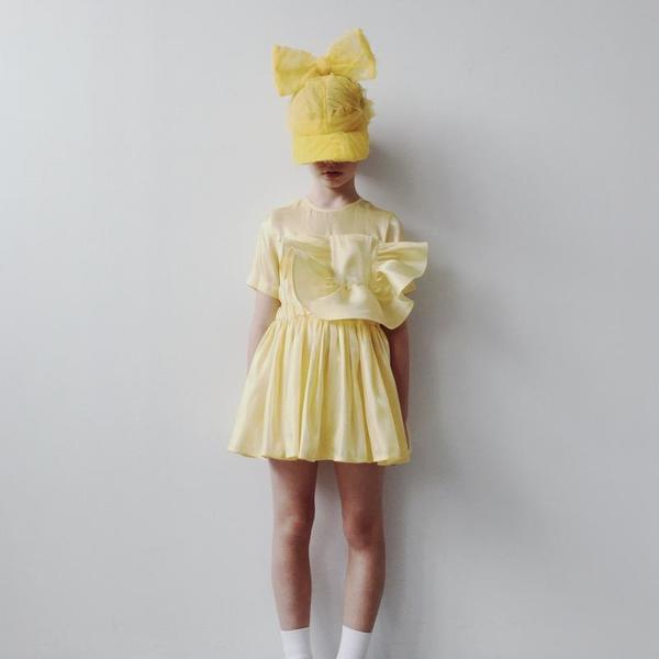 Kids caroline bosmans pocket dress - glimmer yellow