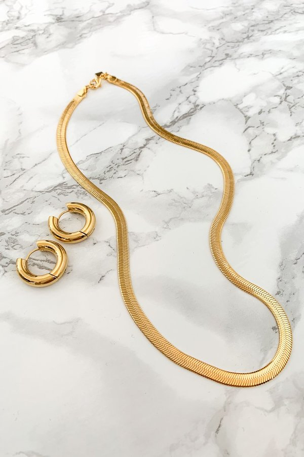 T MARKET MONDAY MUST Viper XL Necklace + Sia Hoops - Gold