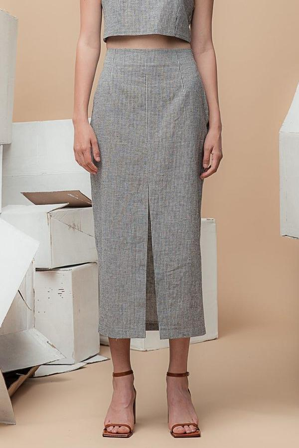 Waltz High-Waisted Long Skirt - Black/White Micro-Check