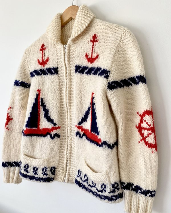 Vintage Wool Sailboat Cardigan