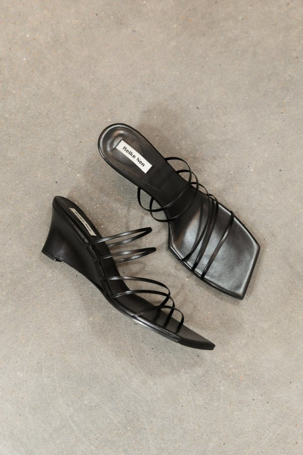 REIKE NEN 5 STRAP WEDGE HEELS - Black