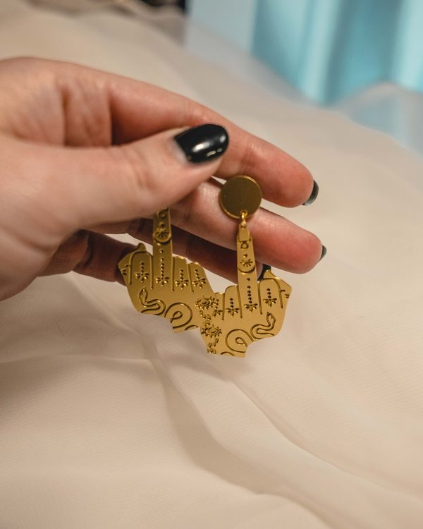bandera earrings in brass