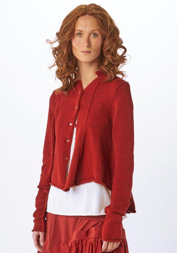 Red Seam Detail Button Up Cardigan