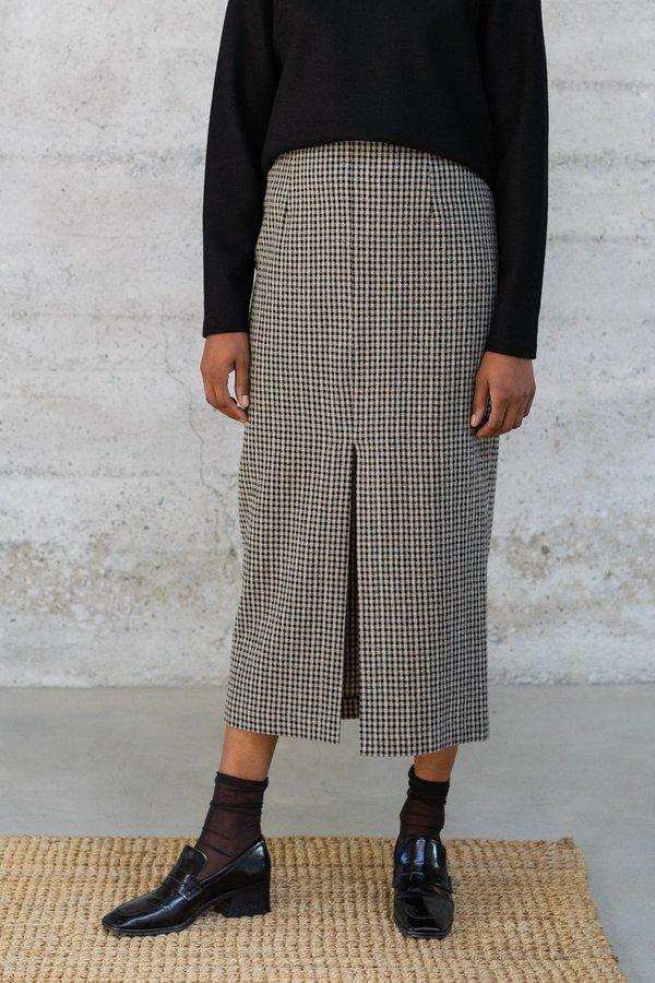Waltz High-Waisted Long Skirt - Checked Wool