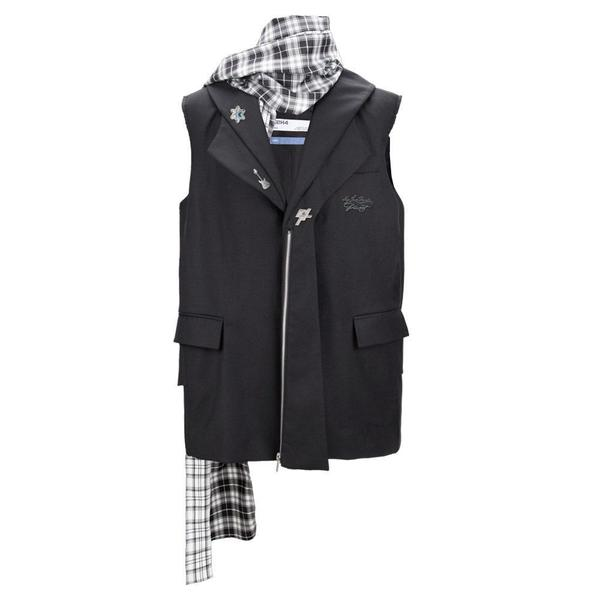 Alternate Scarf Variant Tailored Sleeveless Jacket 'Solemn Black'