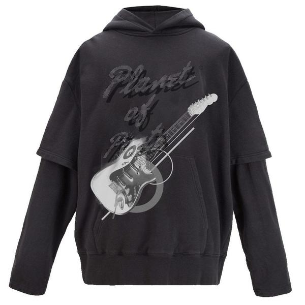 """Grunge Guitar"" Double Layer Hoodie 'Graphite Gray'"