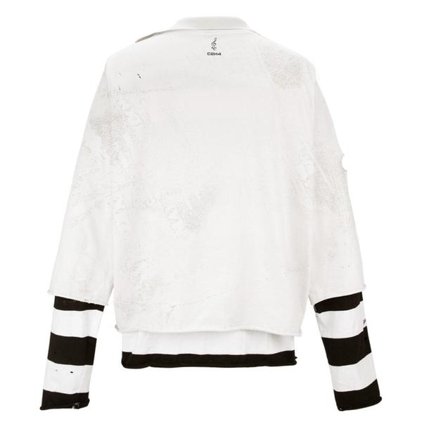 Panelled Distressed Double Layer Long-Sleeve T-shirt 'Black / White'