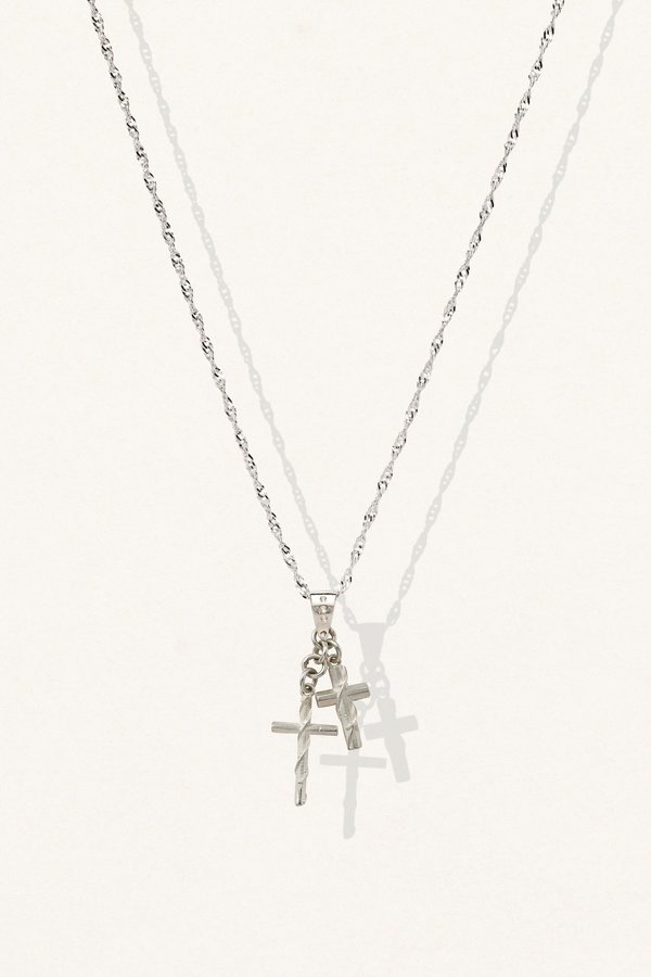 The Silver Stone Mini Wrapped Cross Necklace - Silver