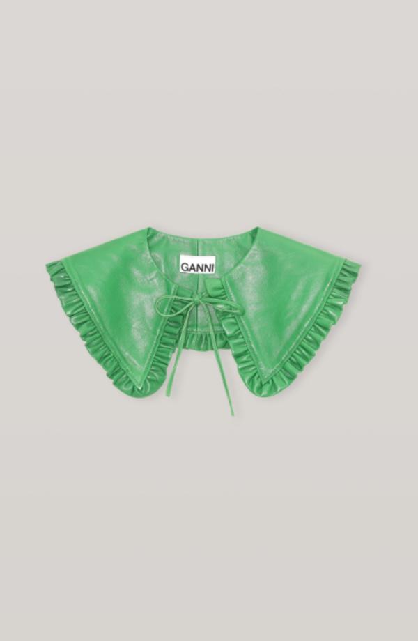 Ganni Leather Collar -  Kelly Green