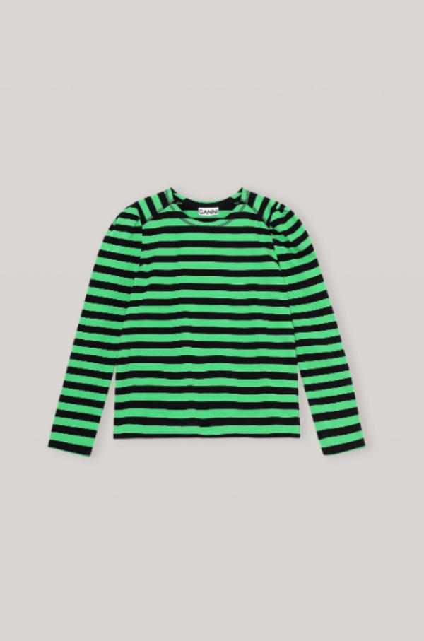 Ganni Striped Puff Sleeve Top - Black/Green Stripe