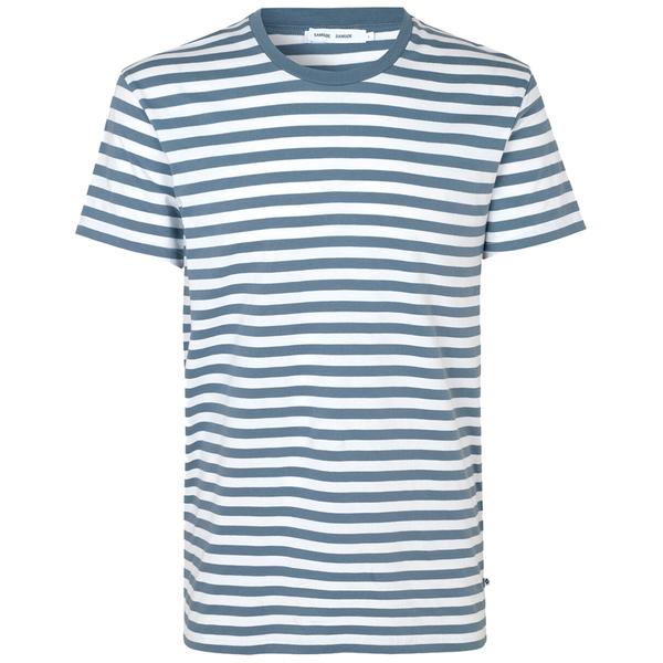 Samsoe Samsoe Patrick O-n Short Sleeve Tshirt- Mirage/White Stripe