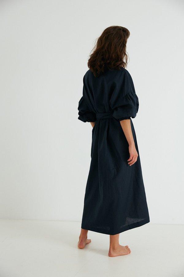Agnes Wrap, Navy Organic Cotton Linen - PREORDER
