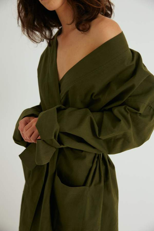 Everyone Robe, Moss Brushed Cotton
