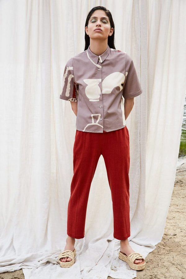 Eve Gravel Pop Up Paresse Pants - Ruby