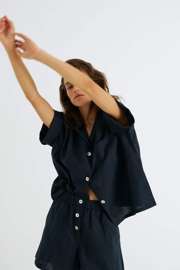 Camilla Set, Navy Organic Cotton Linen