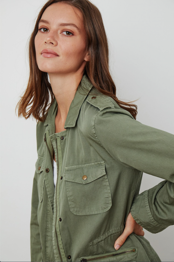 Velvet Ruby Army Jacket in Sage