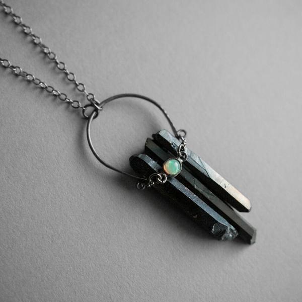 Black Crystal Crescent Gemstone Necklace - Opal
