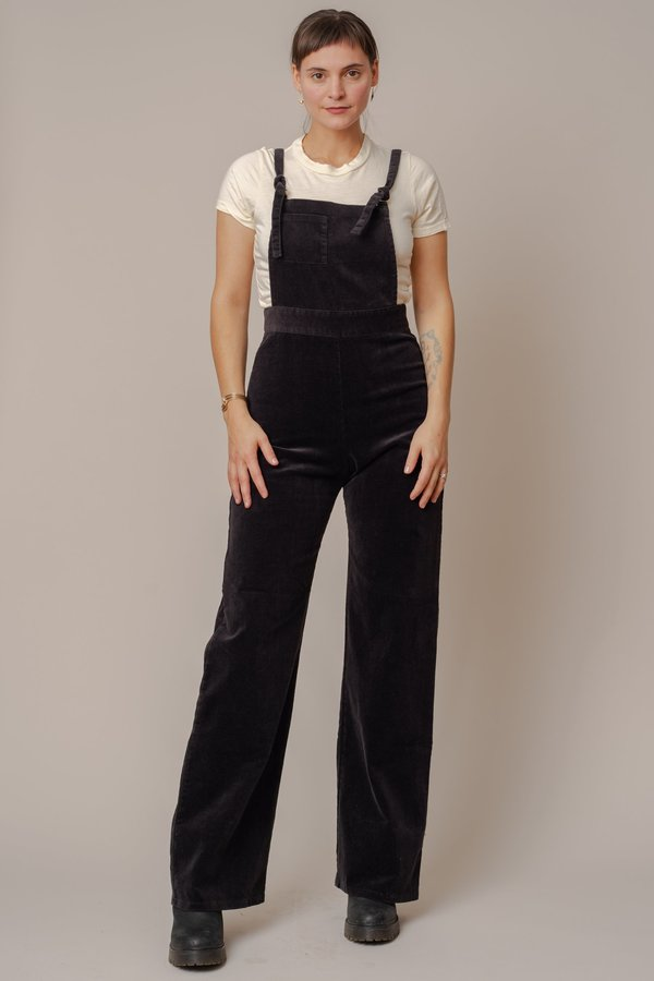 Black High-Waisted Stretch Corduroy Overalls