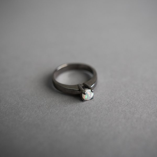 Black Rhodium Solitaire Opal Ring