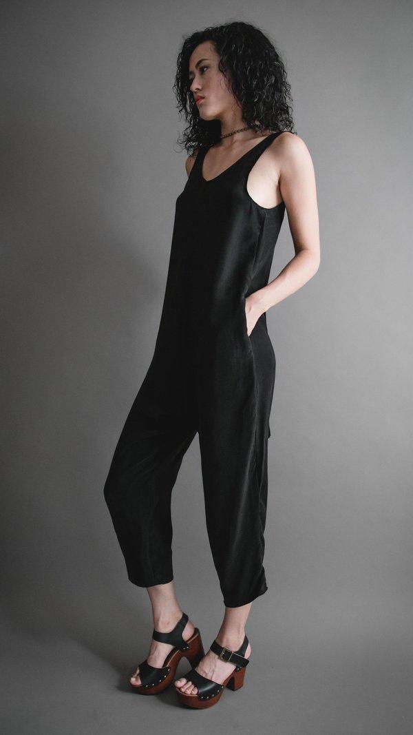 Black Silky Cupro Houseline Jumpsuit