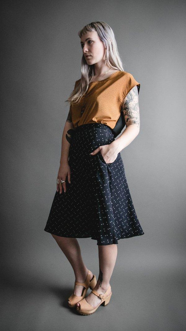 Black Swiss Print Tailored Midi Skirt
