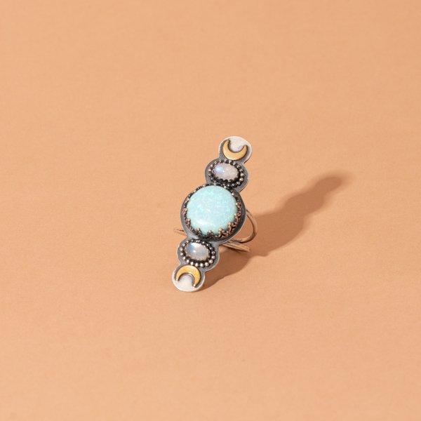Blue Monarch Opal Ring + Rainbow Moonstone Ring w/ Brass Moons