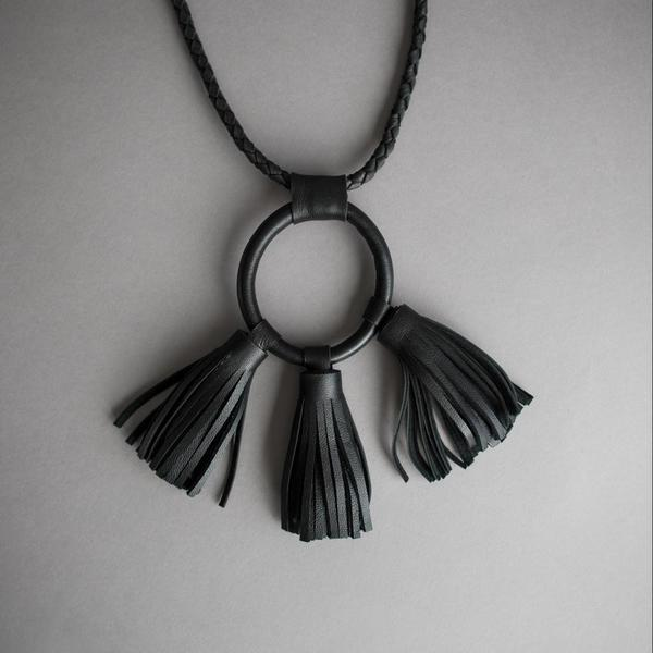 Braided Leather Circle and Tassels Necklace