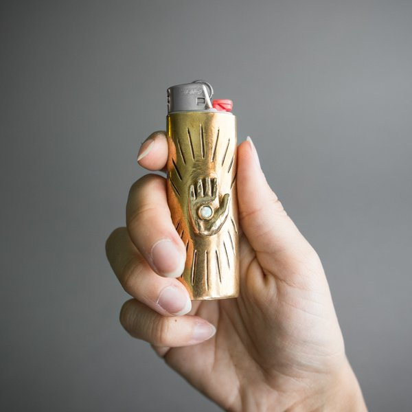 Brass and Opal Palmistry Lighter Case
