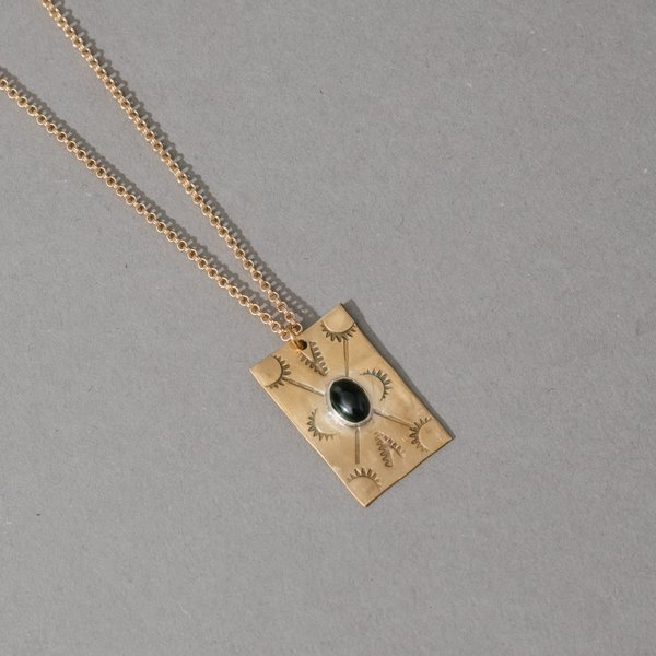 Brass Stamped Rectangle Pendant Necklace with Stone