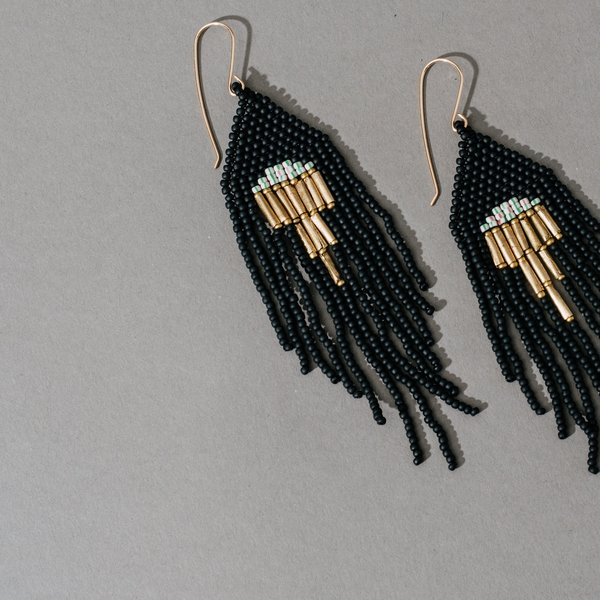 Dangler Earrings with Upside Down Gold Triangle- Black