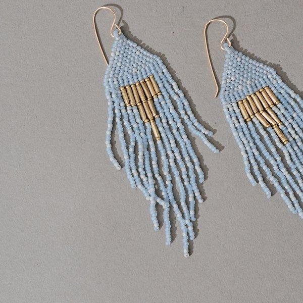 Dangler Earrings with Upside Down Gold Triangle- Sky Blue