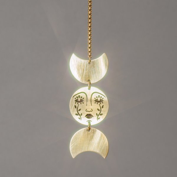 Double Moon and Face Necklace