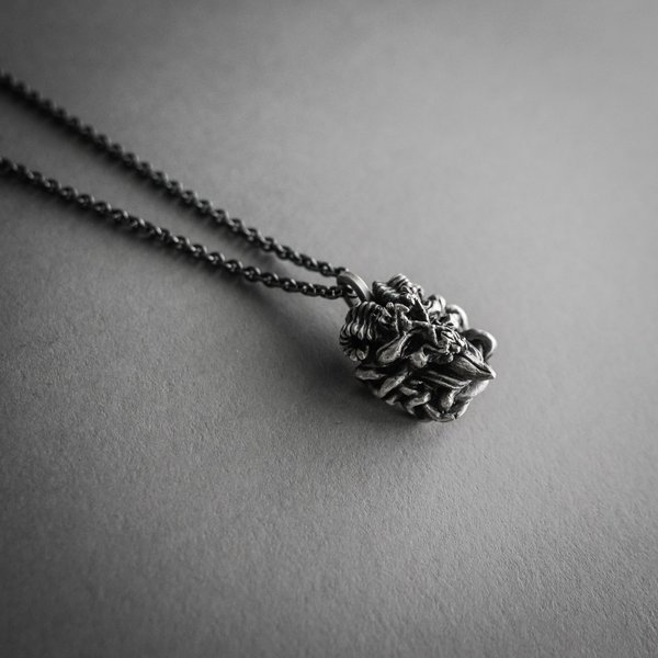Double Sided Skull Necklace - Silver