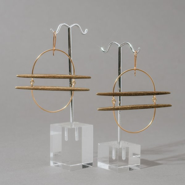 Gold Oval Earrings with Brass Bars