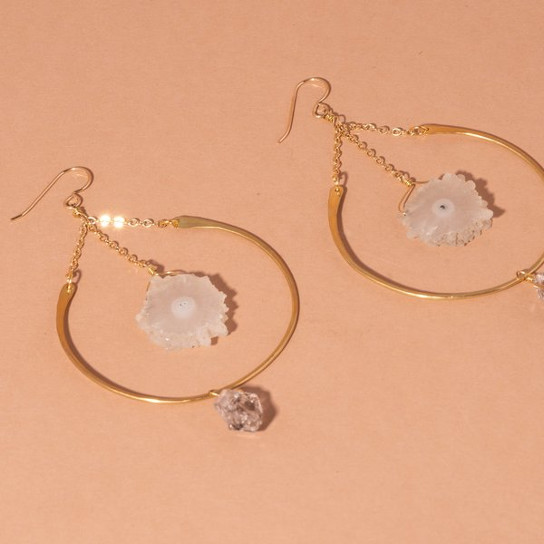 Hoop Earrings with Sun Quartz and Herkimer Diamonds