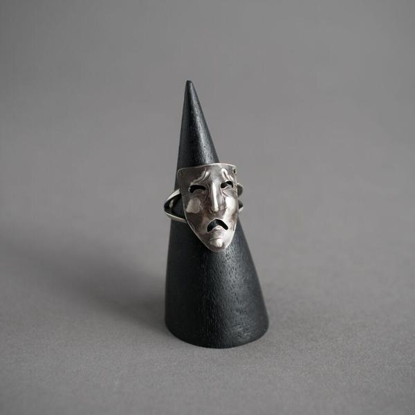 Janus Mask Ring - Frowning