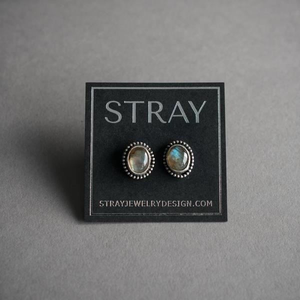 Labradorite Silver Stud Earrings