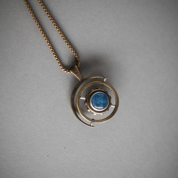 Large Brass Gyroscope Necklace - Studded Brass and Kyanite