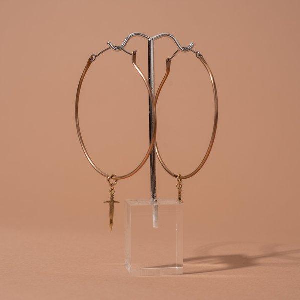 Large Hoop Sword Earrings