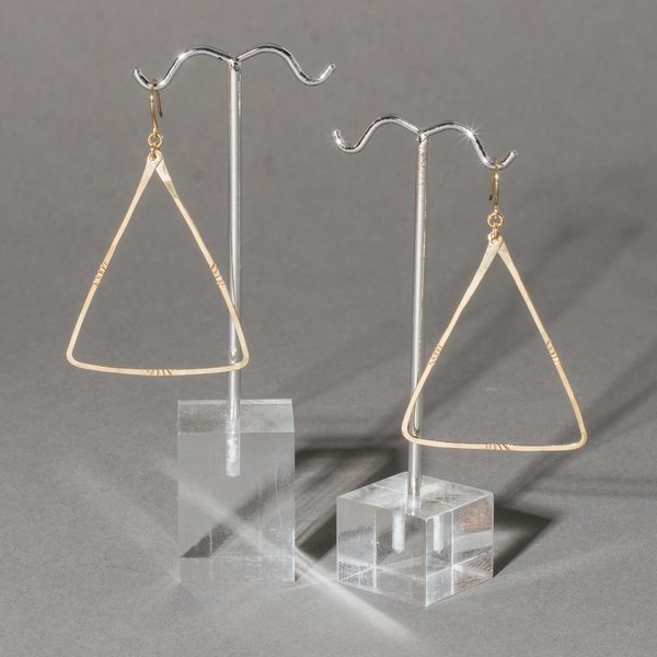Large Thin Triangle Stamped Hoops