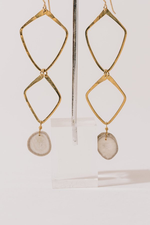 Layered Diamond Shield and Antler Earrings