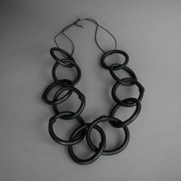 Leather Chain Link Necklace