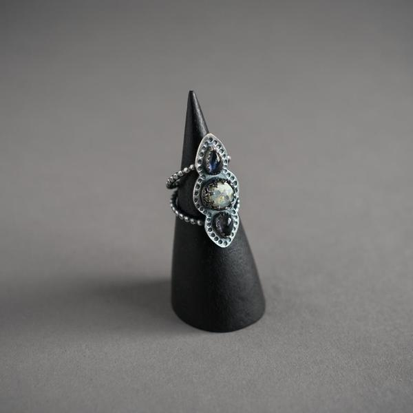 Monarch Opal & Iolite Triple Stone Ring