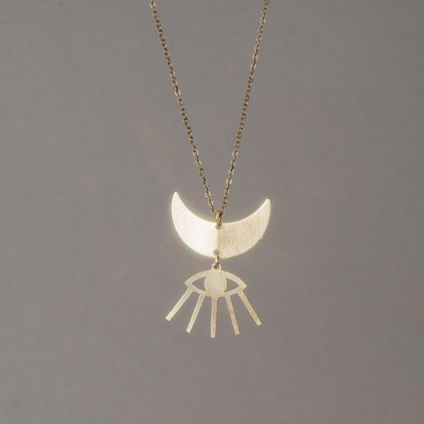 Moon and Eyelash Necklace
