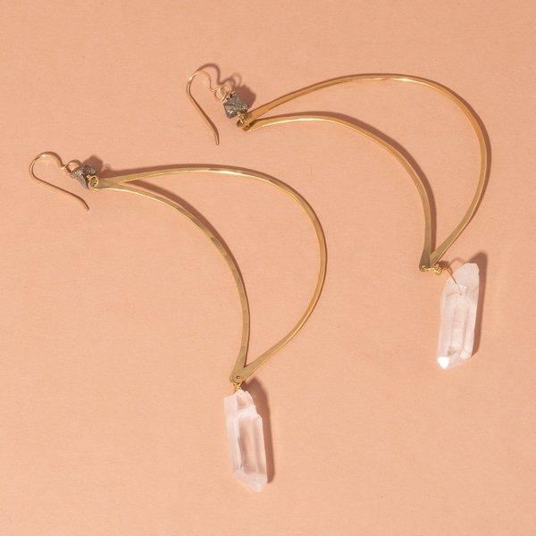 Moon Earrings With Crystal Quartz