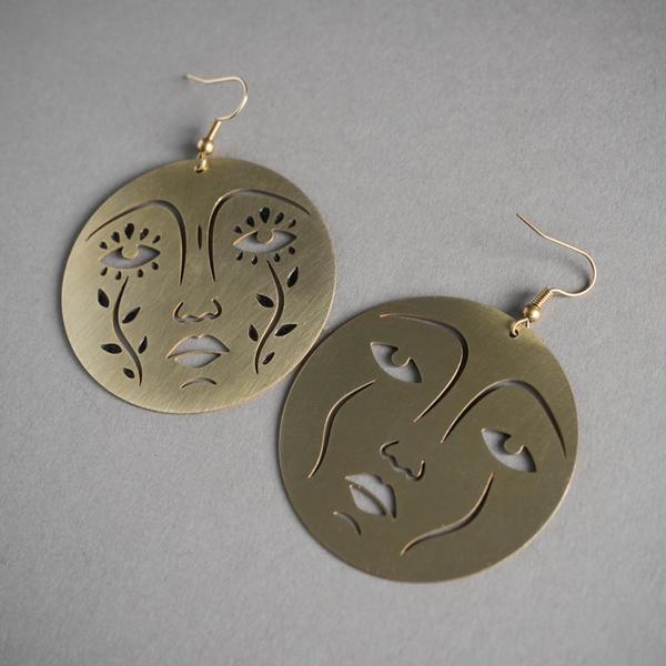 Mother Moon Brass Earrings