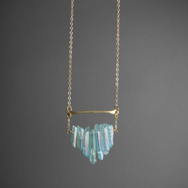 Multicrystal Necklace - Aqua