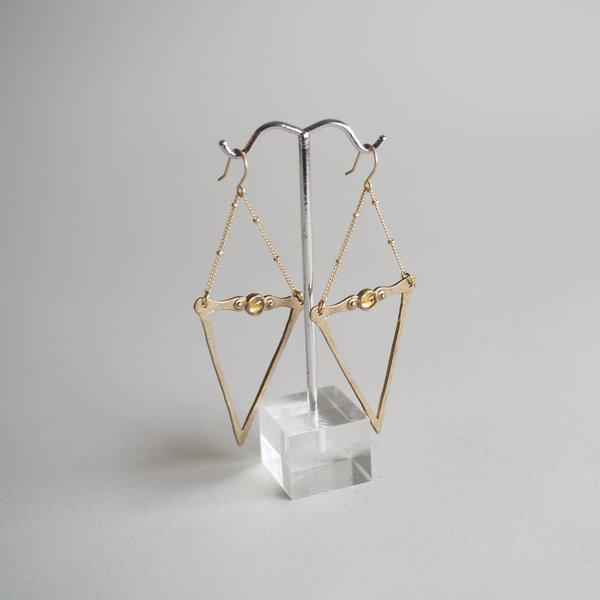 One of a Kind Citrine Brass Dart Earrings