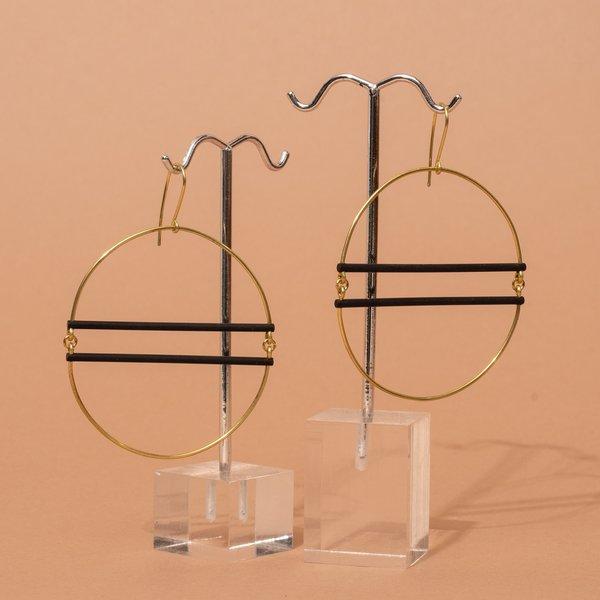 Oval and Black Bar Earrings