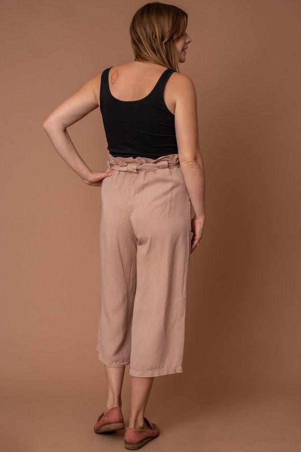 Pink Tencel Paper Bag Pants